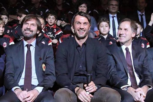 Filippo Galli with Paolo Maldini and Franco Baresi