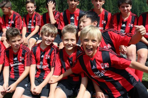 Children at the football camp at AC Milan soccer football camps
