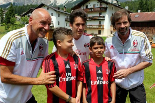 Filippo Galli with children at AC Milan Camp Cortina