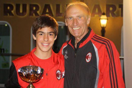 Champion Pierino Prati with boy at the AC Milan Camp Asiago