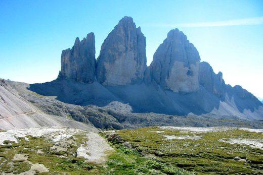 Tre Cime di Lavaredo, vicino Cortina d'Ampezzo, Dolomiti, Alpi, Italia