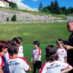 Coach Diego Bortoluzzi provides instructions to young players in the AC Milan Academy Junior Camp