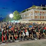 Awards ceremony of the kids at the AC Milan Junior Camp in the square of Lido di Jesolo (Venice)