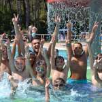 Kids have fun in the pool at the summer camp of AC Milan in Lignano Sabbiadoro