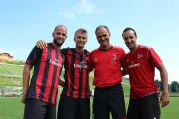 AC Milan Young Sector coach Walter De Vecchi with Sporteventi tecnical staff