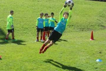 Goalkeeper football training at AC Milan Junior Camp